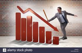Baseball Bat Chart Angry Man With Baseball Bat Hitting Downward Chart Stock Photo