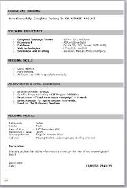 Simple Resume Format For Freshers In Ms Word Resume Corner