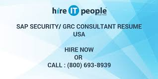 Sap Security Grc Consultant Resume Hire It People We Get It Done