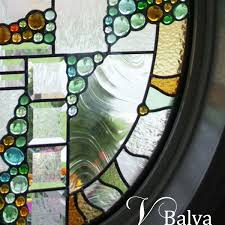 contemporary stained leaded glass front