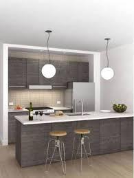 inspiring grey kitchen walls. Inspiring Small Grey Kitchen Design With Hanging Lamps And Barstool Yellow Light Walls
