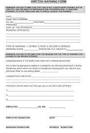 Written Warning Form Download Printable Pdf Templateroller