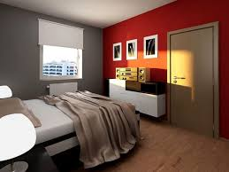Bedroom:Orange And Grey Bedroom White Motive Bedding Brown Laminated  Exceptional Red Walls Image 98