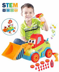 Take-a-Part Toys Assembly Toy Car Truck Construction Bulldozer 3-4-5 Years Boys Girls, DIY Toddler Music, Lights Drill Tool, Gift Kids Year RebateKey -