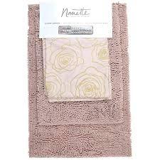 gold bath rugs rose print piece shower curtain rug set round bathroom