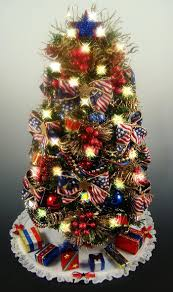 Best Decorated Christmas Trees   Decorated Patriotic Tabletop Mini Christmas  Tree - Red White Blue and