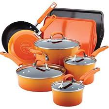 rachael ray hard anodized 12 piece. Simple Anodized Rachael Ray Hard Enamel Nonstick 12Piece Cookware Set Orange For Anodized 12 Piece H