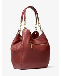 Michael Kors Lillie Large Pebbled Leather Shoulder Bag in Red - Lyst