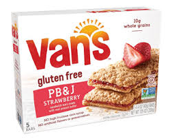 j and j snack food strawberry peanut butter sandwich bars vans foods