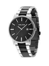 stainless steel police mens watches gifts jewellery police london black dial two tone bracelet mens watch