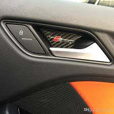 2018 car styling carbon fiber interior door inside door bowl panel wrist cover trim stickers for audi a3 a4 a5 a6 a7 q3 q5 b6 accessories from lewis99
