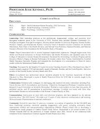 Curriculum Vitae College Professor Professor Resume Example