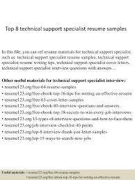 top8technicalsupportspecialistresumesamples 150331213539 conversion gate01 thumbnail 4 jpg cb 1427855784