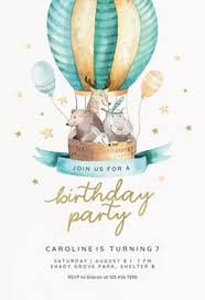 Balloon Birthday Invitations Air Balloon Birthday Invitation Template Free Greetings Island