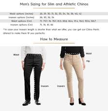 Slim And Athletic Chinos Size Chart Baubax