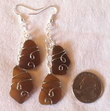 brown sea gl dangle earrings