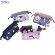 xzjja cute cartoon flamingo portable zipper cosmetic bag canvas makeup organiser case cute simple sundries