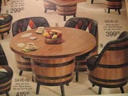 vintage whiskey barrel table chairs chair design ideas