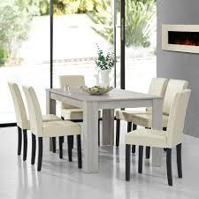 Details About Encasa Esstisch Eiche Weiß Mit 6 Stühlen Creme 140x90 Tisch Stühle Modern