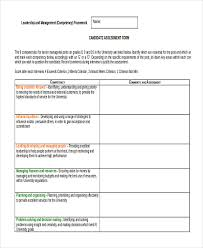 candidate assessment form sample sample job assessment forms 9 free documents in word pdf