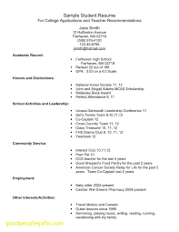 Sample Resume For College Application Inspirational New High School