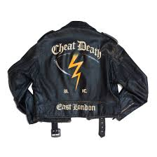 cheat hand painted vintage leather jacket