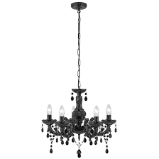 marie therese black 5 light chandelier with acrylic glass drops 1455 5bk