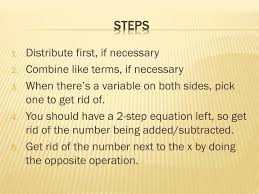 solving multi step equations with variables on both sides steps distribute first if necessary