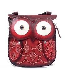handmade red leather owl purse