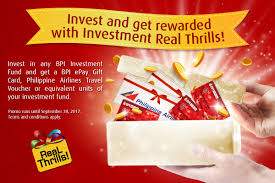 for every p1 000 000 worth of contribution in bpi investment funds clients are enled to receive p1 000 bpi express gift card philippine airlines travel