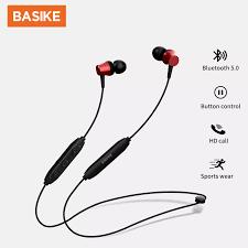 BASIKE Tai nghe Bluetooth chính hãng Tai nghe có dây V5.0 Tai nghe chơi  game trong tai có mic Tai nghe thể thao cho Samsung Huawei OPPO VIVO  IOS(TW25)