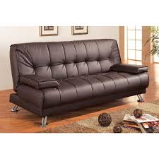 modern futon sofa bed. Brilliant Futon Modern Futon Style Sleeper Sofa Bed In Brown Faux Leather And