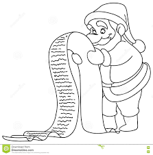 Santa Christmas List Coloring Page With Outlined Stock Vector