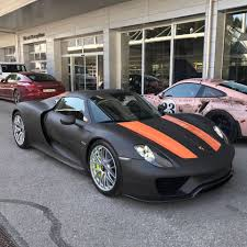 porsche 918 spyder black. matte black porsche 918 spyder with lava orange stripes