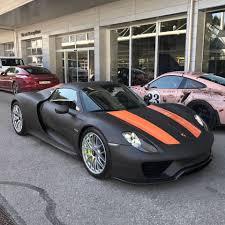 porsche 918 spyder black. matte black porsche 918 spyder with lava orange stripes