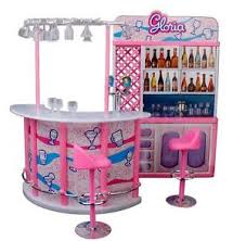 DOLLHOUSE FURNITURE HAPPY HOUR Pub Bar Goblet Stools PLAYSET for