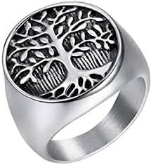 IFUAQZ Men's Stainless Steel Vintage <b>Gold Plated Tree</b> of Life Ring ...
