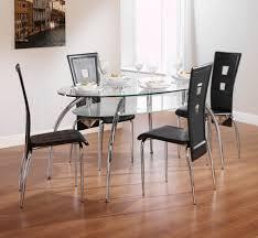Black Glass Oval Dining Table And With 4 Leather Chairs