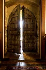 old church front door ajar