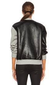 image 5 of t by alexander leather neoprene half half varsity jacket in grey