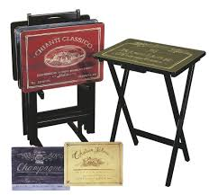 Amazon.com: Cape Craftsman TV Tray Set with Stand, Wine Label, Set of 4:  Kitchen & Dining