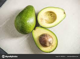 Avocado Light Avocado Fruit Cut Half Light Background Concept Organic Eco