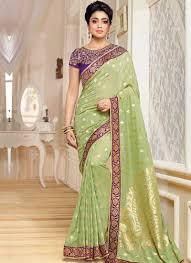 Designer Wear Sarees In Hyderabad Shriya Saran Pista Green Printed Banarasi Silk Designer