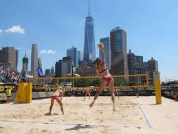 photo essay aimee berg live from the avp new york city open  kelly claes serves saturday on stadium court at the 2016 avp new york city open