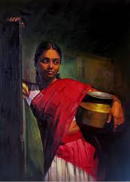 25 beautiful south indian women paintings by ilayaraja 1