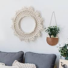 macrame wall hanging art wall decoration nordic ins handmade woven tapestry round dream catcher mexican home decoration wall decor tapestry wall hanging