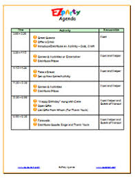 Party Agenda Sample Ezparty Party Planning