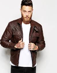 asos brand leather jacket with chest pocket