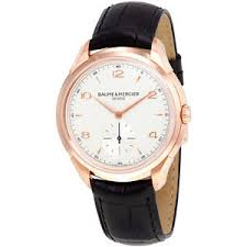 baume and mercier clifton silver dial 18kt rose gold mens watch image is loading baume and mercier clifton silver dial 18kt rose