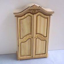 unfinished dollhouse furniture. wonderful dollhouse unfinished wood armoire wardrobe brass knobs  dollhouse miniature furniture and